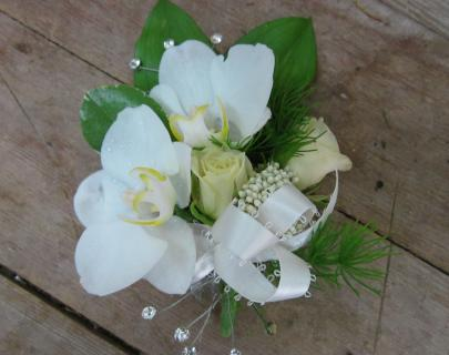 All White Orchids & Roses